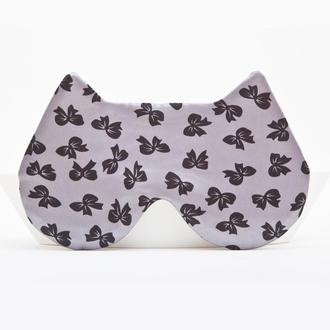 Маска для сна кошка, Подарок девушке, Атласная серая маска для сна