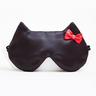 Маска для сна купить Украина, Маска для сна кошка, черная маска для сна котик