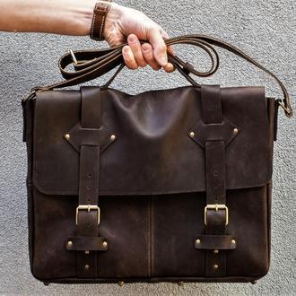 Кожаный портфель ручной работы.