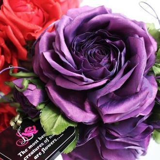 Брошь цветок из ткани Роза «Фиолетовое солнце»