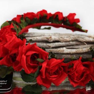 Обідок-віночок «Червоні троянди»