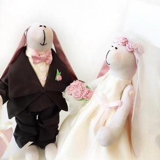 Свадьба зайки жених невеста фата подарок девичник молодожёны новобрачные годовщина