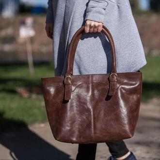 Женская кожаная сумка на молнии