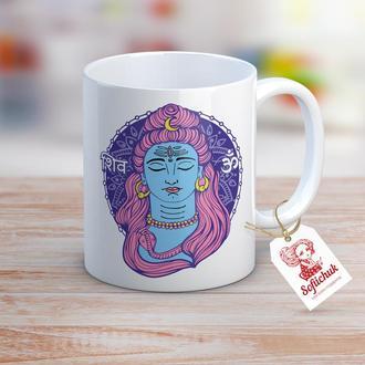 """Дизайнерская чашка в индийском стиле """"Йога. Медитация Ом. Шива"""""""