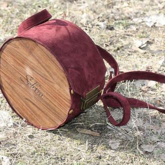 Сумка из дерева и кожи Марсала