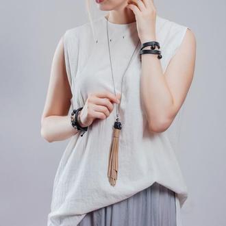 Комплект шкіряних браслетів