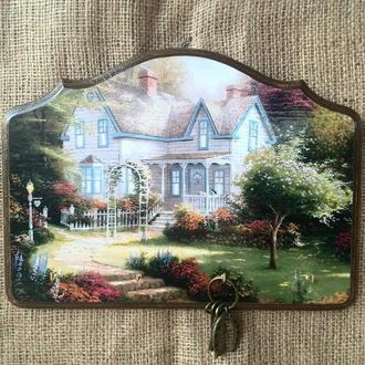 Вешалка для ключей Ключница настенная в прихожую Уютный домик Ключница на стену