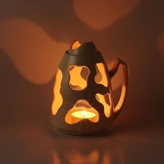 Белая керамическая ночная лампа для свечи Ночник светильник Подарок