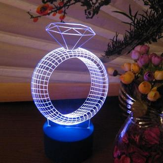 Кольцо с бриллиантом, ночник светильник лампа, романтический подарок девушке, декор спальни
