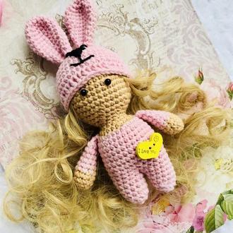 Пупс-зайка,вязаная куколка
