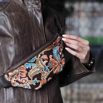 Женская поясная сумка, Кожаная сумка бананка, Стильная бохо сумка