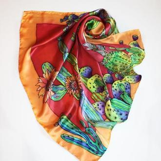 Шелковый платок ручной росписи с кактусами