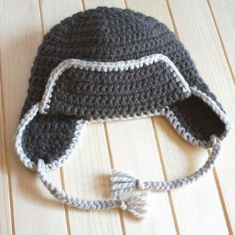Шерстяная шапка ушанка на подростка