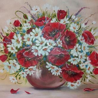 картина маслом цветы Маки ромашки