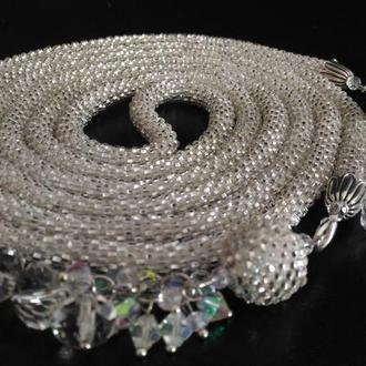 Лариат из бисера, сережки и браслет