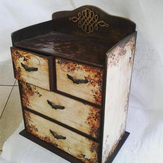 Мини-комодик, большая шкатулка для хранения (ювелирных украшений, мелочей)