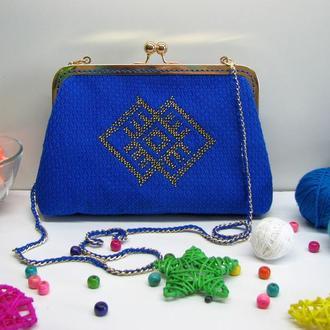 Сумка-клатч с фермуаром Ультрамарин, тканая сумка, сумка с вышивкой, маленькая сумка