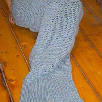 Плед русалка, хвост русалки вязаный