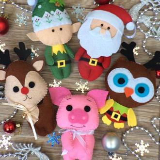 Набор новогодних игрушек из фетра