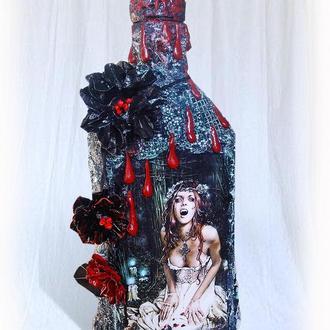 """Сувенирная бутылка """"Кровавая Мэри"""", декор на хэллоуин"""