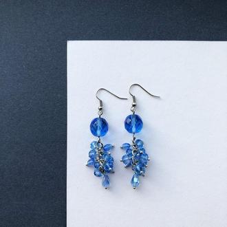 серьги голубого цвета
