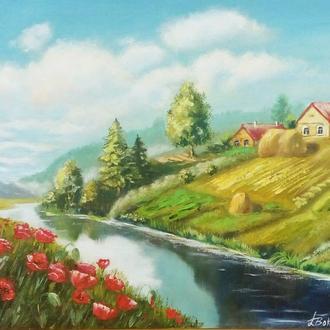 """Картина маслом пейзаж """"Родные просторы""""  50 х 40 см"""