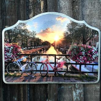 Ключница настенная в прихожую Вешалка для ключей Амстердам велосипеды