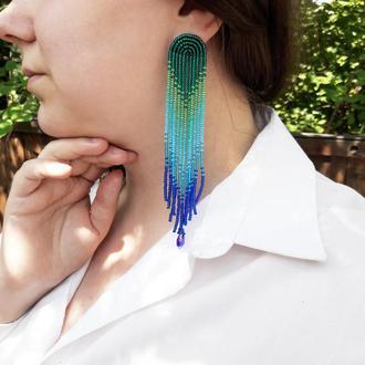 Синьо-зелені сережки, сережки-китиці, сережки-водоспади, сережки з бісеру, сине-зеленые серьги