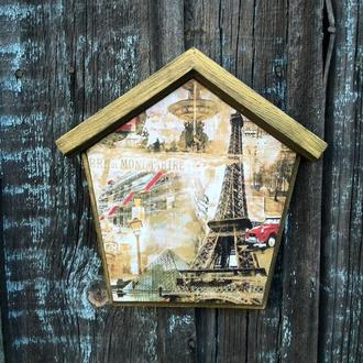 Ключница домик Париж Вешалка для ключей Органайзер для ключей