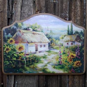 Ключниця у вітальню Рідна хата моя  Ключница настенная в прихожую украинское село подсолнухи