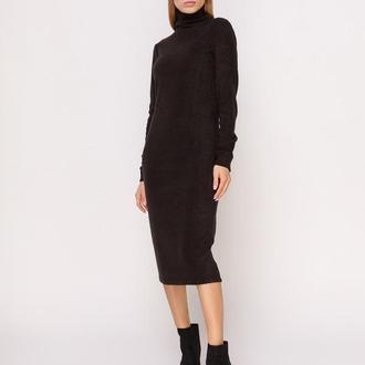 Платье-гольф черное миди
