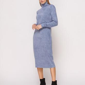 Платье-гольф голубое миди