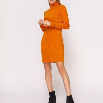 Платье-гольф апельсиновое мини (M)