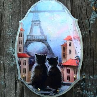 Ключница на стену Коты в Париже Ключница настенная декоративная