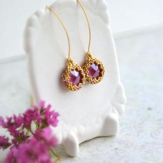 Миниатюрные розовые  серьги с кристаллами Сваровски