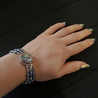 Браслет з натуральних перлів та перламутру Пауа трьохрядний браслет из жемчуга жемчужный браслет