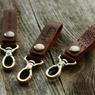 Кожаный брелок для ключей с карабином с любой гравировкой