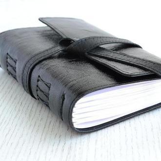 """Кожаный блокнот. Софтбук. Подарочный блокнот """"Черный глянец"""""""
