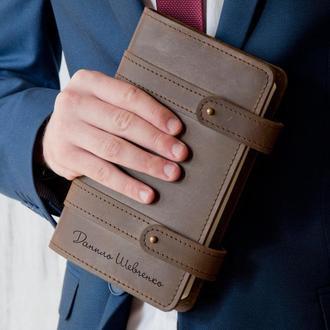 Кожаный блокнот с персональной гравировкой