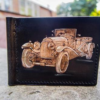 Зажим для купюр ретро авто, кожаный зажим для денег, подарок водителю