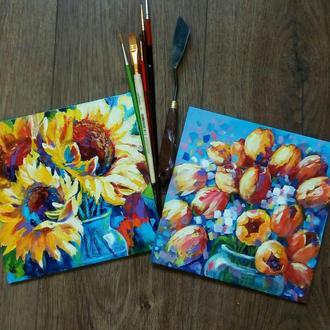 """Картина цветы """"Подарочный набор"""",  20 х 20 см -2 шт"""