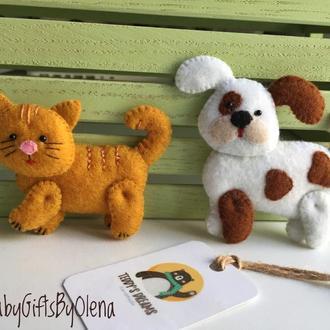 Котёнок и собачка из фетра ( серия Ферма)