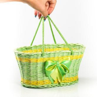 Детская сумка-корзинка плетеная  из бумажной лозы