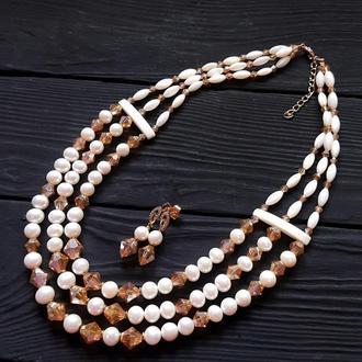 Намисто з натуральних перлів, баламутів та кристалів колье из жемчуга бусы из жемчуга