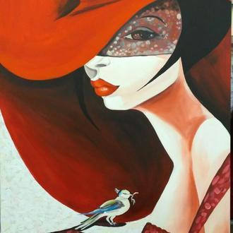 """картина маслом """"Дама в красной шляпе"""""""