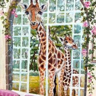 """Картина маслом в детскую комнату, пейзаж, животные """"Забавные жирафы"""" 30 х 40  см"""