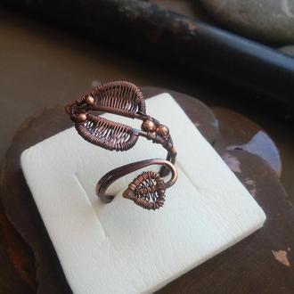Кольцо в виде змея.Кольцо из проволоки.Snake.Необычные украшения.Кольцо из меди.Wire wrap