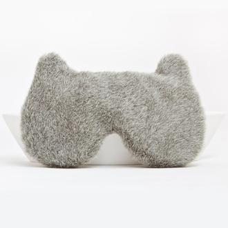 Маска для сна мишка, Подарок мужчине, Пушистая маска для сна