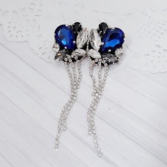 серьги с камнями сережки с камушками серьги на подарок сережки на свадьбу сережки с кристаллами