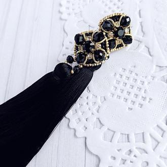 Черные сережки с камнями серьги кисти сережки с кисточками